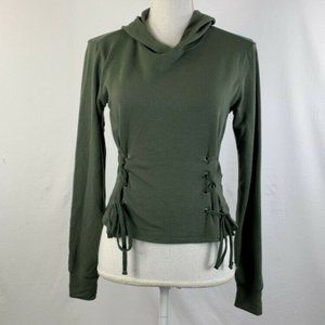 Garage Hoodie Lace Up Trendy Olive Green Size XS